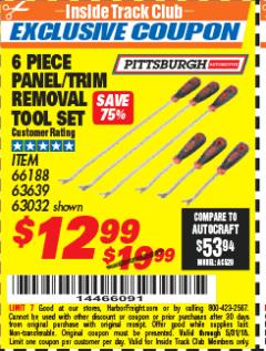 Harbor Freight ITC Coupon 6 PIECE PANEL/TRIM REMOVAL TOOL SET Lot No. 66188 Expired: 5/31/18 - $12.99