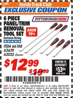 Harbor Freight ITC Coupon 6 PIECE PANEL/TRIM REMOVAL TOOL SET Lot No. 66188 Expired: 7/31/18 - $12.99