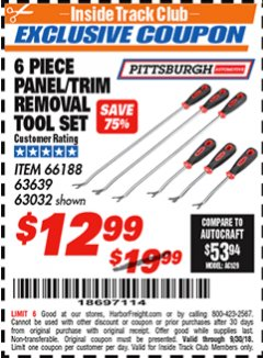 Harbor Freight ITC Coupon 6 PIECE PANEL/TRIM REMOVAL TOOL SET Lot No. 66188 Expired: 9/30/18 - $12.99