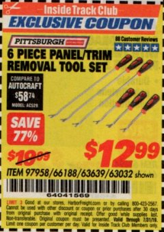 Harbor Freight ITC Coupon 6 PIECE PANEL/TRIM REMOVAL TOOL SET Lot No. 66188 Expired: 7/31/19 - $12.99
