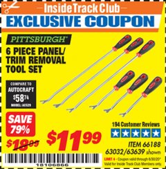 Harbor Freight ITC Coupon 6 PIECE PANEL/TRIM REMOVAL TOOL SET Lot No. 66188 Expired: 6/30/20 - $11.99