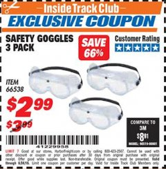 Harbor Freight ITC Coupon SAFETY GOGGLES PACK OF 3 Lot No. 94027 Expired: 6/30/18 - $2.99