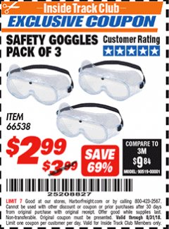 Harbor Freight ITC Coupon SAFETY GOGGLES PACK OF 3 Lot No. 94027 Expired: 8/31/18 - $2.99