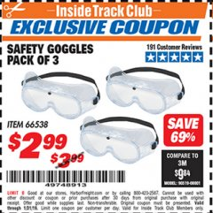 Harbor Freight ITC Coupon SAFETY GOGGLES PACK OF 3 Lot No. 94027 Expired: 1/31/19 - $2.99
