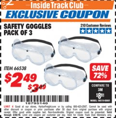 Harbor Freight ITC Coupon SAFETY GOGGLES PACK OF 3 Lot No. 94027 Expired: 4/30/19 - $2.49