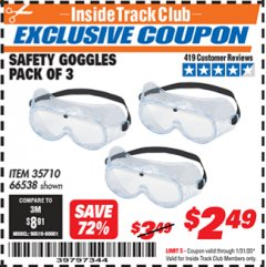 Harbor Freight ITC Coupon SAFETY GOGGLES PACK OF 3 Lot No. 94027 Expired: 1/31/20 - $2.49