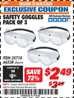 Harbor Freight ITC Coupon SAFETY GOGGLES PACK OF 3 Lot No. 94027 Expired: 4/30/20 - $2.49