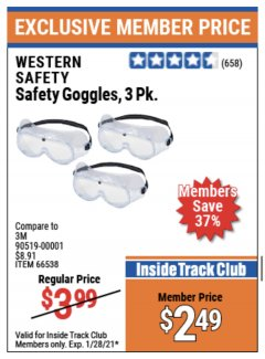 Harbor Freight ITC Coupon SAFETY GOGGLES PACK OF 3 Lot No. 94027 Expired: 1/28/21 - $2.49