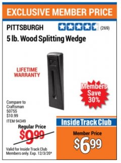Harbor Freight ITC Coupon 5 LB. WOOD SPLITTING WEDGE Lot No. 94349/61185 Valid: 11/1/20 - 12/3/20 - $6.99