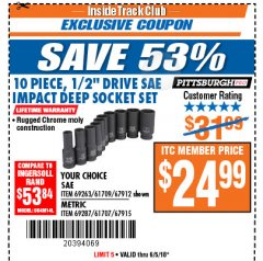 "Harbor Freight ITC Coupon 10 PIECE 1/2"" DRIVE DEEP WALL IMPACT SOCKET SETS Lot No. 67912/61709/69263/67915/69287/61707 Expired: 6/5/18 - $24.99"