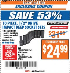 "Harbor Freight ITC Coupon 10 PIECE 1/2"" DRIVE DEEP WALL IMPACT SOCKET SETS Lot No. 67912/61709/69263/67915/69287/61707 Expired: 9/18/18 - $24.99"