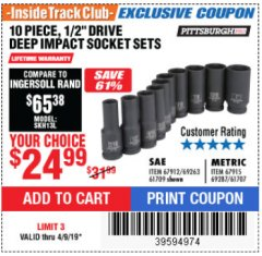 "Harbor Freight ITC Coupon 10 PIECE 1/2"" DRIVE DEEP WALL IMPACT SOCKET SETS Lot No. 67912/61709/69263/67915/69287/61707 Expired: 4/9/19 - $24.99"