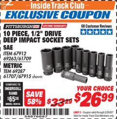 "Harbor Freight ITC Coupon 10 PIECE 1/2"" DRIVE DEEP WALL IMPACT SOCKET SETS Lot No. 67912/61709/69263/67915/69287/61707 Valid: 2/1/20 - 2/29/20 - $26.99"