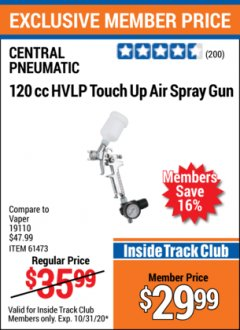 Harbor Freight ITC Coupon 120 CC HIGH VOLUME LOW PRESSURE TOUCH UP SPRAY GUN Lot No. 61473/46719 Valid Thru: 10/31/20 - $29.99