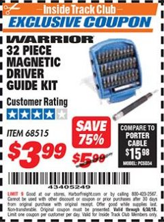 Harbor Freight ITC Coupon 32 PIECE MAGNETIC DRIVER GUIDE KIT Lot No. 68515 Expired: 6/30/18 - $3.99