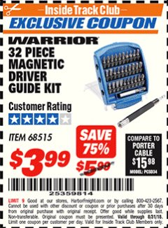 Harbor Freight ITC Coupon 32 PIECE MAGNETIC DRIVER GUIDE KIT Lot No. 68515 Expired: 8/31/18 - $3.99
