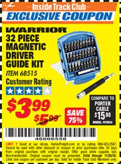 Harbor Freight ITC Coupon 32 PIECE MAGNETIC DRIVER GUIDE KIT Lot No. 68515 Expired: 11/30/18 - $3.99