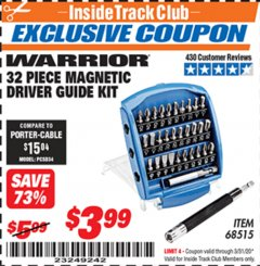 Harbor Freight ITC Coupon 32 PIECE MAGNETIC DRIVER GUIDE KIT Lot No. 68515 Expired: 3/31/20 - $3.99