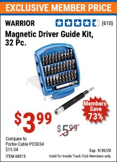 Harbor Freight ITC Coupon 32 PIECE MAGNETIC DRIVER GUIDE KIT Lot No. 68515 Expired: 9/30/20 - $3.99