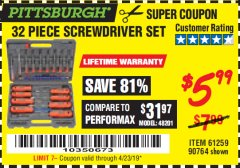 Harbor Freight Coupon 32 PIECE MAGNETIC DRIVER GUIDE KIT Lot No. 68515 Expired: 4/23/19 - $5.99