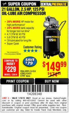 Harbor Freight ITC Coupon 2.5 HP, 21 GALLON 125 PSI VERTICAL AIR COMPRESSOR Lot No. 67847/61454/61693/69091/62803/63635 Expired: 1/10/19 - $149.99