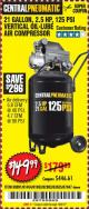 Harbor Freight Coupon 2.5 HP, 21 GALLON 125 PSI VERTICAL AIR COMPRESSOR Lot No. 67847/61454/61693/69091/62803/63635 Expired: 10/6/17 - $149.99