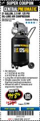 Harbor Freight Coupon 2.5 HP, 21 GALLON 125 PSI VERTICAL AIR COMPRESSOR Lot No. 67847/61454/61693/69091/62803/63635 Expired: 8/31/17 - $148.76