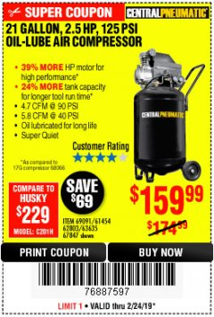 Harbor Freight Coupon 2.5 HP, 21 GALLON 125 PSI VERTICAL AIR COMPRESSOR Lot No. 67847/61454/61693/69091/62803/63635 Expired: 2/24/19 - $159.99