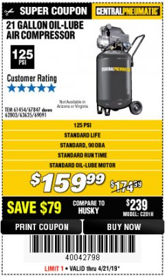 Harbor Freight Coupon 2.5 HP, 21 GALLON 125 PSI VERTICAL AIR COMPRESSOR Lot No. 67847/61454/61693/69091/62803/63635 Expired: 4/21/19 - $159.99
