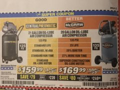 Harbor Freight Coupon 2.5 HP, 21 GALLON 125 PSI VERTICAL AIR COMPRESSOR Lot No. 67847/61454/61693/69091/62803/63635 Expired: 5/31/19 - $159.99