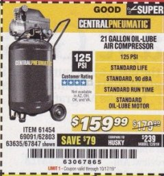 Harbor Freight Coupon 2.5 HP, 21 GALLON 125 PSI VERTICAL AIR COMPRESSOR Lot No. 67847/61454/61693/69091/62803/63635 Expired: 10/17/19 - $159.99