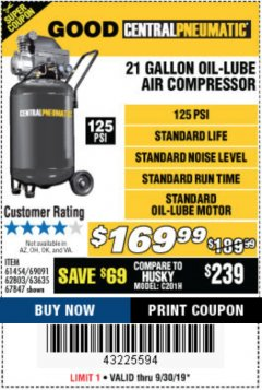 Harbor Freight Coupon 2.5 HP, 21 GALLON 125 PSI VERTICAL AIR COMPRESSOR Lot No. 67847/61454/61693/69091/62803/63635 Expired: 9/30/19 - $169.99