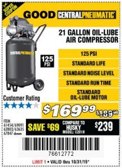 Harbor Freight Coupon 2.5 HP, 21 GALLON 125 PSI VERTICAL AIR COMPRESSOR Lot No. 67847/61454/61693/69091/62803/63635 Expired: 10/31/19 - $169.99