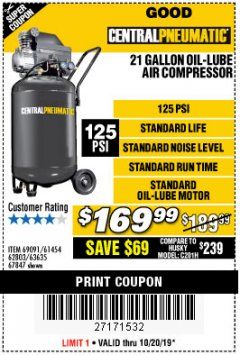 Harbor Freight Coupon 2.5 HP, 21 GALLON 125 PSI VERTICAL AIR COMPRESSOR Lot No. 67847/61454/61693/69091/62803/63635 Expired: 10/20/19 - $169.99