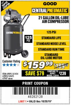 Harbor Freight Coupon 2.5 HP, 21 GALLON 125 PSI VERTICAL AIR COMPRESSOR Lot No. 67847/61454/61693/69091/62803/63635 Expired: 10/20/19 - $159.99