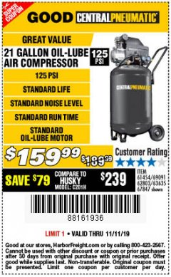 Harbor Freight Coupon 2.5 HP, 21 GALLON 125 PSI VERTICAL AIR COMPRESSOR Lot No. 67847/61454/61693/69091/62803/63635 Expired: 11/11/19 - $159.99