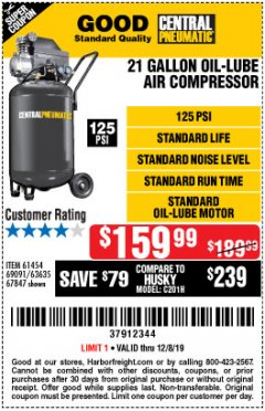 Harbor Freight Coupon 2.5 HP, 21 GALLON 125 PSI VERTICAL AIR COMPRESSOR Lot No. 67847/61454/61693/69091/62803/63635 Expired: 12/8/19 - $159.99