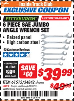 Harbor Freight ITC Coupon 6 PIECE SAE JUMBO ANGLE WRENCH SET Lot No. 61515/34842 Expired: 10/31/19 - $39.99