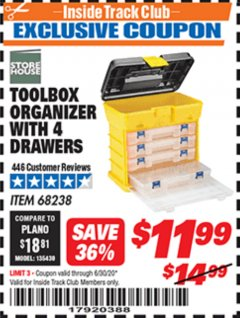 Harbor Freight ITC Coupon TOOLBOX ORGANIZER WITH 4 DRAWERS Lot No. 68238 Dates Valid: 12/31/69 - 6/30/20 - $11.99