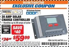 Harbor Freight ITC Coupon 30 AMP SOLAR CHARGE CONTROLLER Lot No. 68738 Expired: 8/31/19 - $59.99