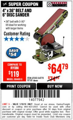 "Harbor Freight ITC Coupon 4"" X 36"" BELT/6"" DISC SANDER Lot No. 64778/97181/5154 Expired: 1/10/19 - $64.79"