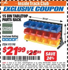 Harbor Freight ITC Coupon 15 BIN TABLE TOP PARTS RACK Lot No. 93198 Expired: 6/30/18 - $21.99