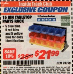 Harbor Freight ITC Coupon 15 BIN TABLE TOP PARTS RACK Lot No. 93198 Expired: 7/31/19 - $21.99