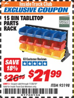 Harbor Freight ITC Coupon 15 BIN TABLE TOP PARTS RACK Lot No. 93198 Expired: 11/30/19 - $21.99