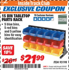 Harbor Freight ITC Coupon 15 BIN TABLE TOP PARTS RACK Lot No. 93198 Expired: 2/29/20 - $21.99