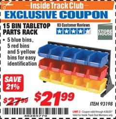 Harbor Freight ITC Coupon 15 BIN TABLE TOP PARTS RACK Lot No. 93198 Expired: 4/30/20 - $21.99