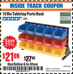 Harbor Freight ITC Coupon 15 BIN TABLE TOP PARTS RACK Lot No. 93198 Expired: 7/31/20 - $21.99