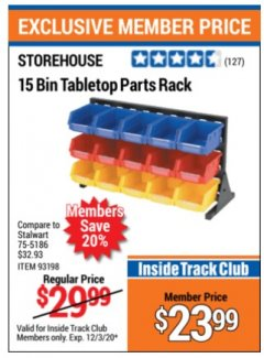 Harbor Freight ITC Coupon 15 BIN TABLE TOP PARTS RACK Lot No. 93198 Expired: 12/3/20 - $23.99