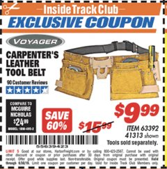 Harbor Freight ITC Coupon CARPENTER'S TOOL BELT Lot No. 41313/63392 Expired: 6/30/19 - $9.99
