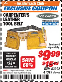 Harbor Freight ITC Coupon CARPENTER'S TOOL BELT Lot No. 41313/63392 Expired: 12/31/19 - $9.99